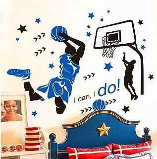 KeLay Fs 3D Basketball Wall Decals Slam Dunk Basketball Wall Decor Sports Decals Basketball Player Wall Stickers for Boys Room Bedroom Decor