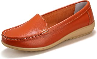 THEZX Women's Genuine Leather Driving Shoes Casual Loafer Flats Boat Shoes (9, Orange)