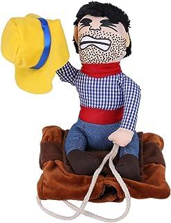 Disfraces de Perro Mascota Disfraz de Jinete de Vaquero Divertido Disfraz de Jinete de Perro con Ropa de Muñeco y Sombrero para Fiesta Halloween Cosplay(L)
