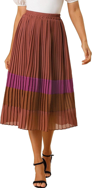 Allegra K Women's Color Block Elastic Waist A-Line Chiffon Pleated Midi Skirt