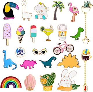 24PCS Cute Pins Backpacks Pins Enamel Pins Set Cartoon Cute Badges for Clothes Hat Backpacks Gift for Girls Women