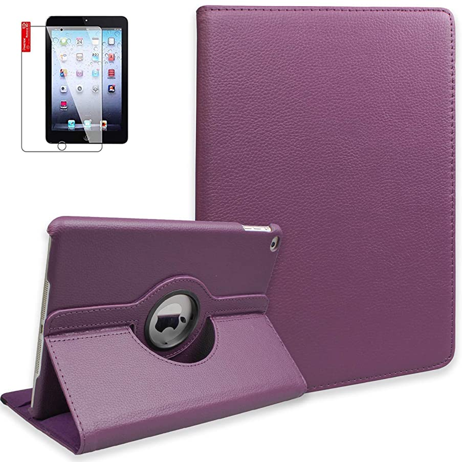 iPad Mini Cases with Bonus Screen Protector - iPad Mini 3/2/1 Case Cover - 360 Degree Rotating Stand with Auto Sleep/Wake for Mini 1st/ 2nd/ 3rd Generation - A1599 A1600(Purple)