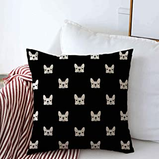 Starosept Throw Pillow Covers Fun Pattern French Bulldog Puppy Cute Frenchie Outline Face Pet Design White Decorative Cushion Pillow Case Cotton Linen for Winter Decor 20