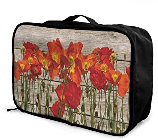 Travel Bags Bunch Of Pink Yellow Rose Flower Portable Foldable Vintage Trolley Handle Luggage Bag
