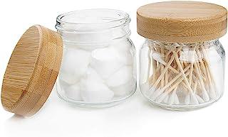 Pots d'apothicaire avec couvercles, ensemble d'accessoires de salle de bain Mason Jar, verre décor de ferme Récipient de l...