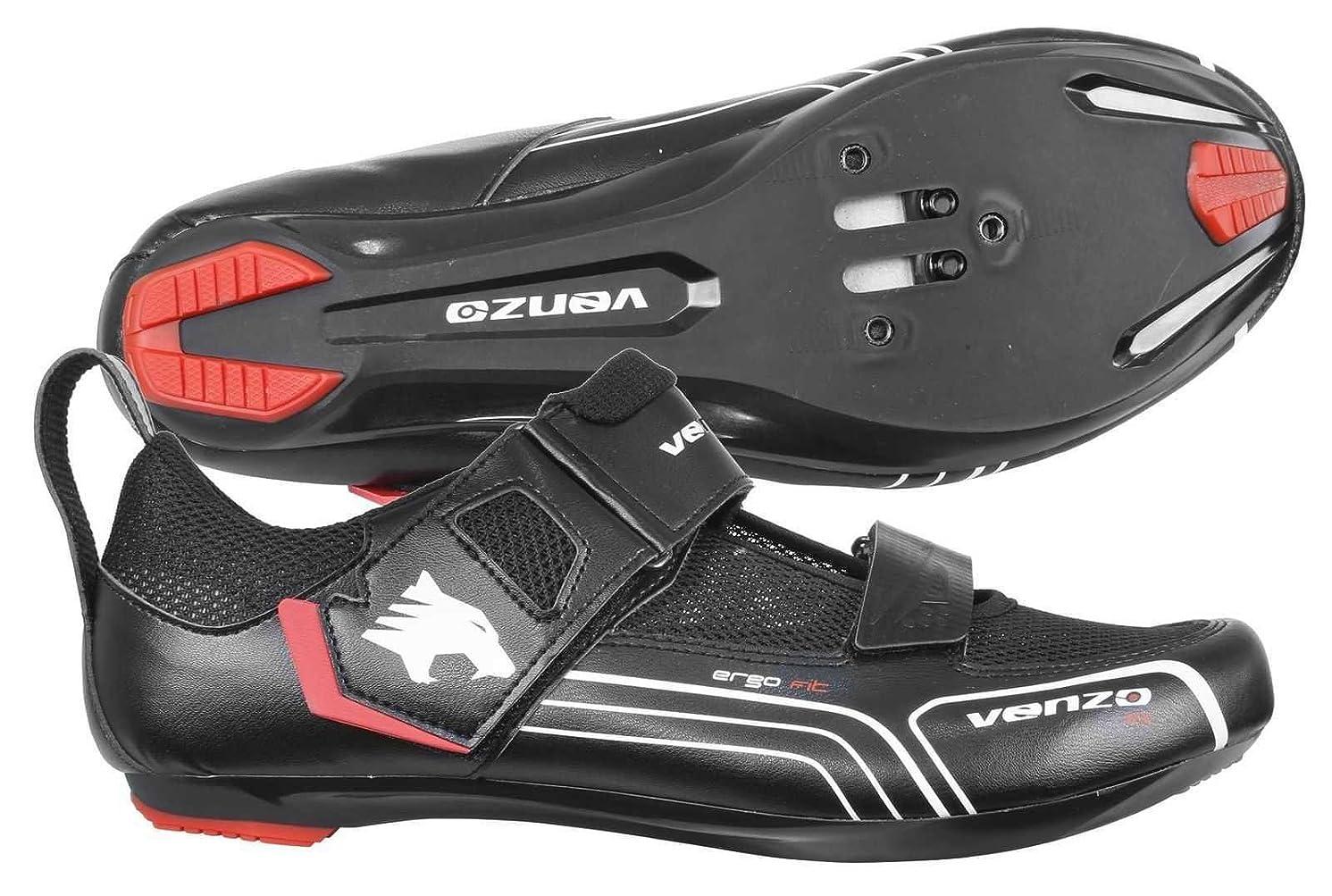 Venzo Bicycle Bike Cycling Triathlon Shoes for Shimano SPD SL Look Black