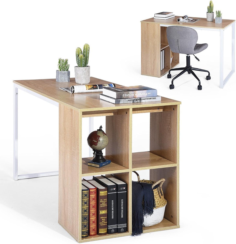 FurnitureR Computer Desk 47  Large Size Office Desk Writing Desk Workstation with Storage Unit Combo