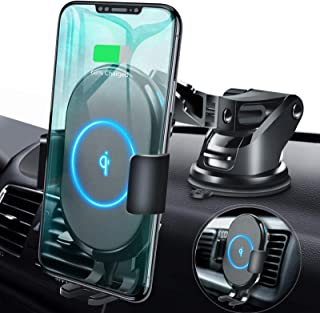 ABLEGRID Wireless Car Charger Mount, Automatic Clamping 10W/7.5W Qi Fast Charging 5W Car Mount Holder Dashboard Compatible with iPhone Xs/Xs Max/XR/X/8/8 Plus,Galaxy S10/S10+/S9/S9+/S8/S8+/Note 9/Note