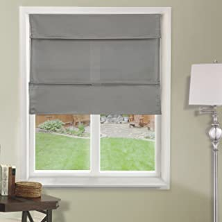 Chicology Cordless Magnetic Roman Shades / Window Blind Fabric Curtain Drape, Light Filtering, Privacy - Daily Grey, 39