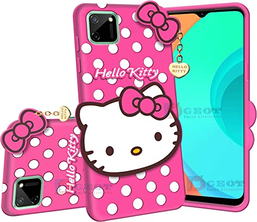Dgeot Hello Kitty Back Case Cover Compatible with Realme C11 3D Cute Hello Kitty Soft Silicone Rubber Girls Favourite with Pendant Compatible for Realme C11 Pink