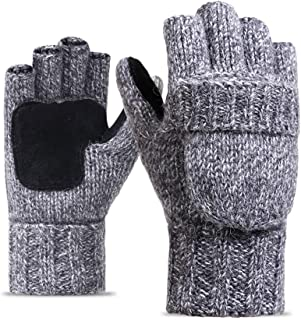 Knit Mitten Gloves Convertible Women & Men with Flap Warm Fingerless Gloves in Winter