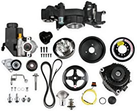 NEW HOLLEY PREMIUM MID-MOUNT RACE ACCESSORY SYSTEM,BLACK, WITH ALTERNATOR,POWER STEERING PUMP,TENSIONER,SFI DAMPER HARD ANODIZED BILLET CRANK PULLEY,BELT,COMPATIBLE WITH GM LS ENGINES