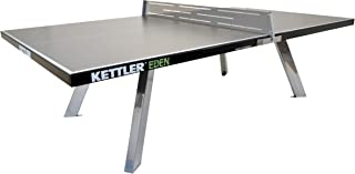 Kettler Eden Weatherproof Stationary Outdoor Table Tennis Table with Galvanized Steel Legs and Permanent Net and Post System