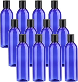 Bekith 12 Pack Blue Empty Plastic Squeeze Bottles with Flip Cap - 8oz Travel Containers For Shampoo, Lotions, Liquid Body Soap, Creams