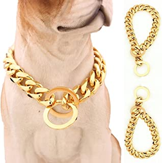 Lansian 13mm/15mm Gold Tone Stainless Steel Dog Collar Pet Dog Choke Chain Dog Necklace 12-34 inch
