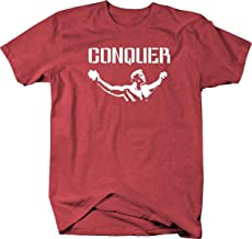 Arnold Quote Conquer Pose Gym Body Building Workout Mens T Shirt