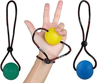 Secure Stress Ball on a String - for Stress Relief, Hand Exercise, Strengthening, Rehabilitation - Soft, Medium and Firm Balls - No Falling or Rolling Away