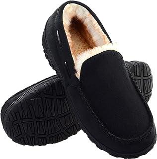 شباشب رجالية بدون كعب من Vonair ببطانة قطيفة دافئة أحذية منزلية من إسفنج الذاكرة داخل المنزل وخارجه مع نعل مطاطي