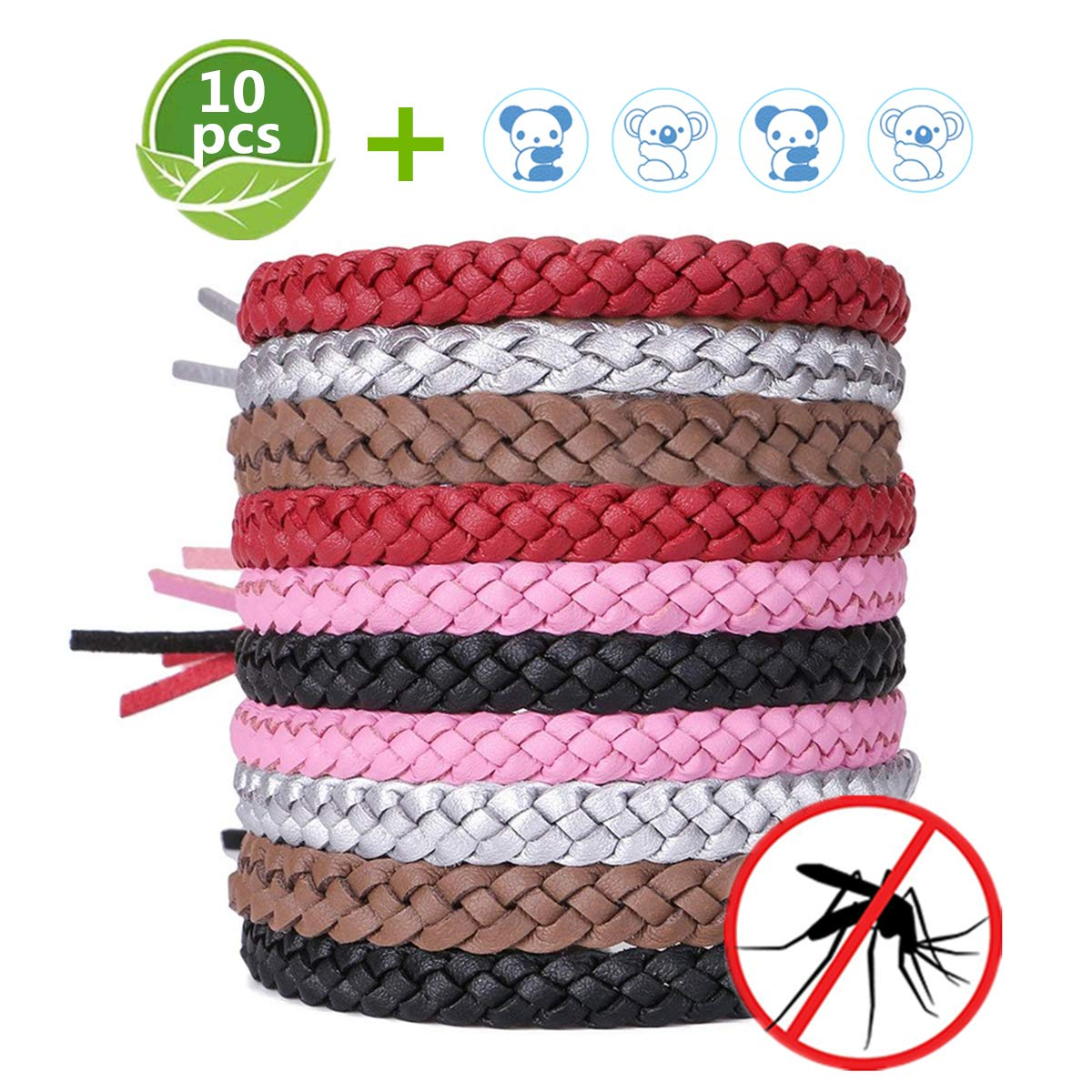 ACTOPP Mosquito Repellent Bracelet Wristbands for Kids and Adults 10 Pieces Repellent Bracelets with 12 Stickers Indoor and Outdoor Use 100/% Natural Waterproof Mosquito Wrist Bands