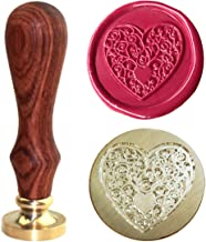 Botokon Heart Wax Seal Stamp, [Many other Patterns Available], Brass Vintage Retro Classic Removable Sealing Stamps,Ideal for Decorating Gift Packing, Envelopes, Invitations, Wine Packaging, etc