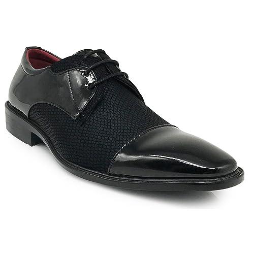 53e766e9efd9 Leon Men s Colonial Spectator Two Tone Cap Toe Oxfords Lace up Dress Shoes  Brown Tan