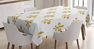 Ambesonne Fleur De Lis Tablecloth, Vintage European Lily Aristocratic Dignified Majesty Print, Rectangular Table Cover for Dining Room Kitchen Decor, 60