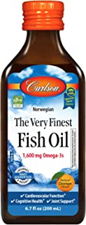 Carlson - The Very Finest Fish Oil, 1600 mg Omega-3s, Norwegian, Sustainably Sourced, Orange, 6.7 Fl Oz