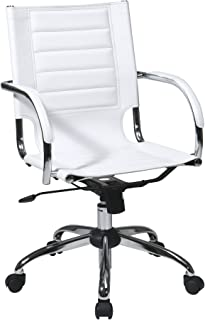 Work Smart/Ave Six TND941A-WH AVE SIX Trinidad Office Chair with Fixed Padded Arms and Chrome Finish, White
