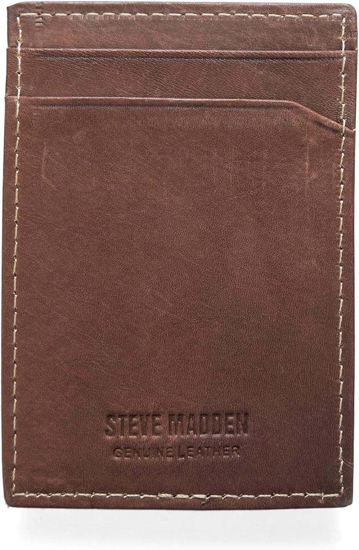 Steve Madden Men's Front Pocket Wallet with Money Clip