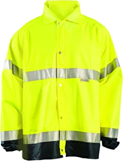 OccuNomix LUX-TJR-YL Premium Breathable Waterproof Rain Jacket, Classic Length, Class 3, Yellow, Large