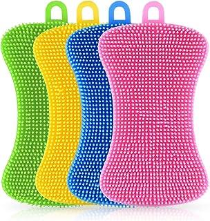 Esponja de silicona Vockvic, 4 piezas, multifuncional, cepillo de limpieza del hogar, resistente al calor, antiadherente, ideal para platos, ollas, verduras, frutas