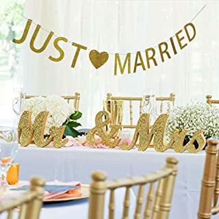MEiySH Mr and Mrs Sign + Just Married Banner Wedding Decoration Wedding Present Silver - MR MRS Wooden Letters and Just Married Banner