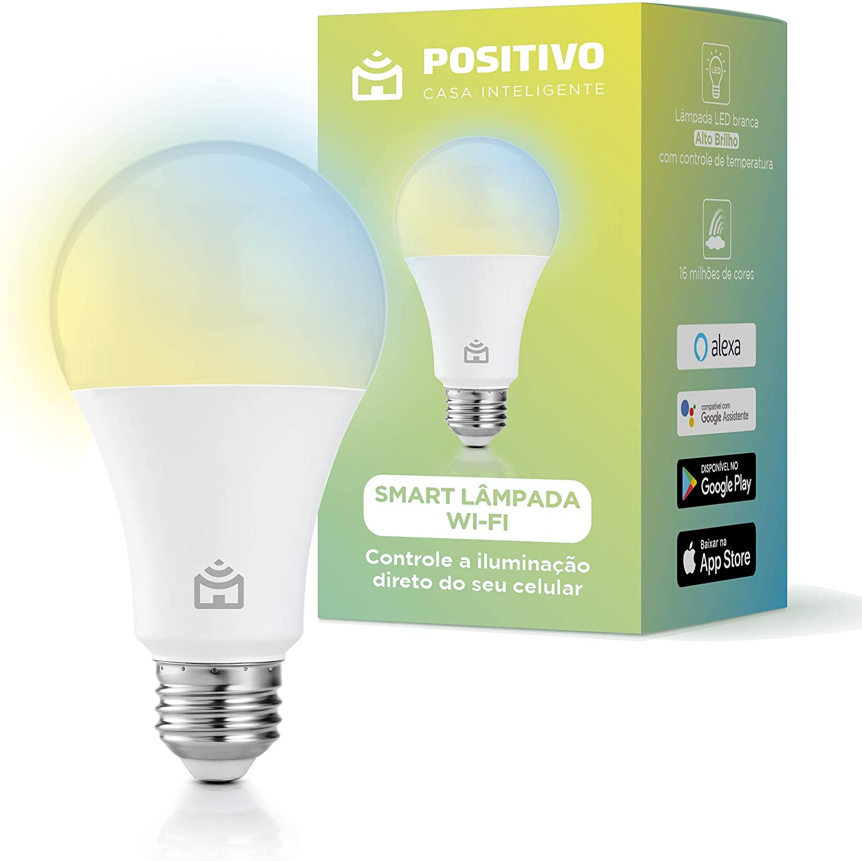 Smart Lâmpada Wi-Fi Positivo Casa Inteligente, branco quente e frio, RGB, LED 9W, Bivolt – Compatível com Alexa