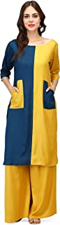 Pret a Porter Yellow & Teal blue Indo-Western Kurti With Palazzo