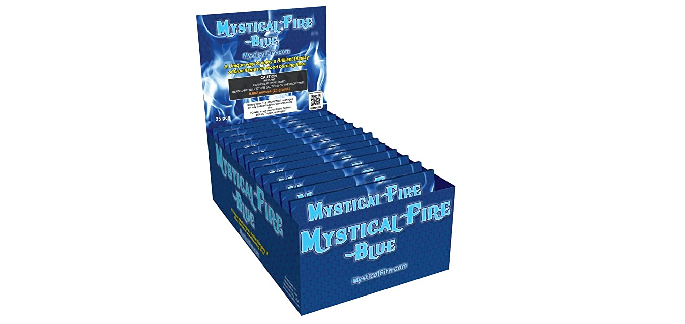 Mystical Fire BLUE Campfire Fireplace Colorant Packets (25 Pack, Mystical Fire Blue)