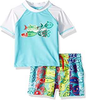KIKO & MAX Boys Swim Set with Short Sleeve Rashguard Swim Shirt Rash Guard Set