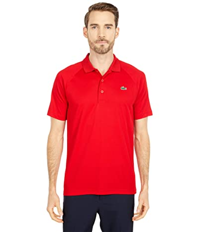Lacoste Short Sleeve Sport Breathable Run-Resistant Interlock Polo Shirt (Red) Men