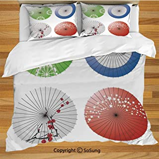 SoSung Apartment Decor Queen Size Bedding Duvet Cover Set,Artisan Japanese Umbrella Design with Cherry Blossom Flowers and Star Figures Decorative 3 Piece Bedding Set with 2 Pillow Shams,Multi
