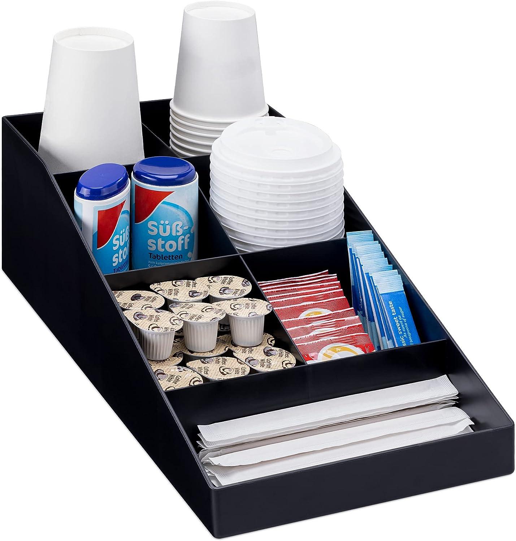 Navaris Organizador de café y té - Caja para Kit de Accesorios de cafetera - Bandeja con 7 cajoncitos para infusiones azucarillos Tazas cápsulas