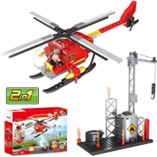 Olimond Toys Fire Helicopter Building Blocks, Fire Station Rescue Tower with Fire Brigade, City Fire Station Sets, Fire Fighter, 2 in 1 (164PCS)