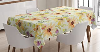 Ambesonne Watercolor Flower Decor Tablecloth, Pastel Colored Summer Sunflowers with Pale Leaves Bright Nature Style, Rectangular Table Cover for Dining Room Kitchen, 52x70 Inches, Orange Cream Green