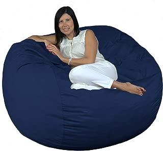 FUGU Bean Bag Chair, Premium Foam Filled 4 XL, Protective Liner Plus Removable Machine Wash Navy Blue Cover