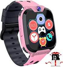 """Kids Game Smart Watch Phone - 1.54"""" Touch Screen Game Smartwatches with [1GB Micro SD Card] Call SOS Camera 7 Games Alarm Clock Music Player Record for Children Boys Girls Birthday Gifts 3-10 (Pink)"""