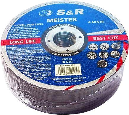 S&R Trennscheibe für Metall, Stahl, Edelstahl/INOX 125x1,0x22,23mm A60 S-BF. Set 25 Stück