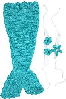 Sac de couchage sirène, couverture de queue de sirène pour bébé filles sirène nouveau-né bébé fille/garçon Crochet tricot ...