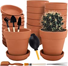 Nilos 12 Pack Terra Cotta Pots with Saucer - 12Pcs 3 inches Clay Pots with 7Pcs Succulent Tools Mini Flower Pot Planters f...