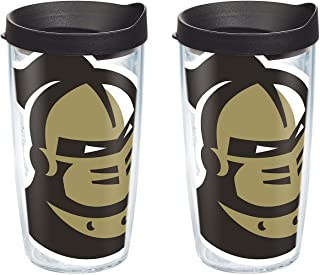 Tervis 1283411 UCF Knights Mascot Colossal Tumbler with Wrap and Black Lid 2 Pack 16oz, Clear