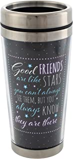 Good Friends Are Like Stars Black 16 Oz Stainless Steel Travel Mug with Lid