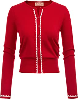 Women Button Knit Cardigan Contrast Color Long Sleeve Shrug BP779