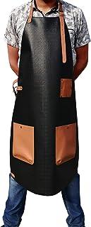 MANDAVA Vegan Leather Apron Bib Barista Baker Bartender BBQ Chef Barber Uniform (Black & Tan)